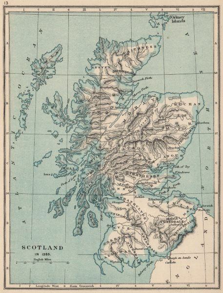 Associate Product SCOTLAND IN 1285. showing regions & towns 1907 old antique map plan chart