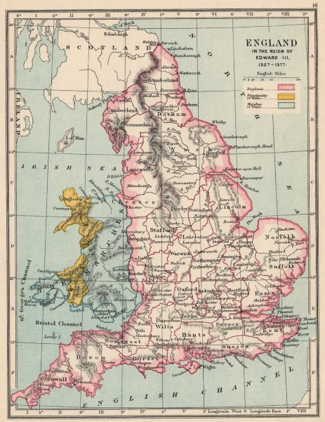 Associate Product ENGLAND & WALES 1327-1377. Reign of Edward III. Principality Marches 1907 map