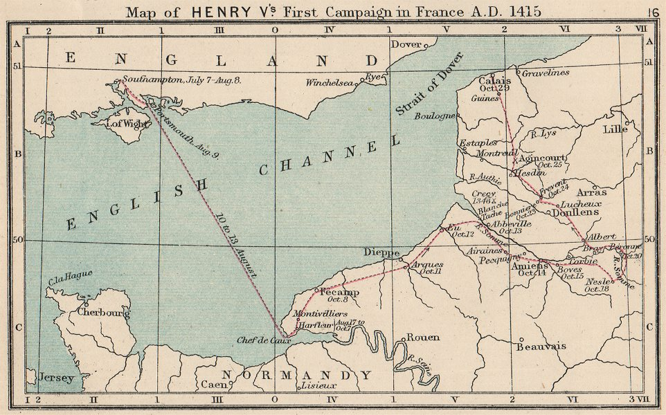 Associate Product HUNDRED YEARS WAR. Agincourt 1415. Henry V's campaign in France. SMALL 1907 map