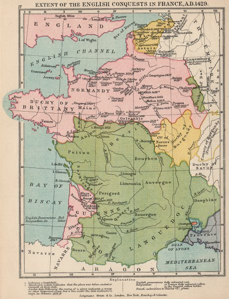 Associate Product HUNDRED YEARS WAR. English Conquests in France, 1429 1907 old antique map