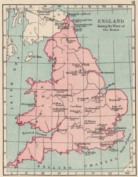 Associate Product WARS OF THE ROSES. England & Wales. Battles/raids & dates. SMALL 1907 old map