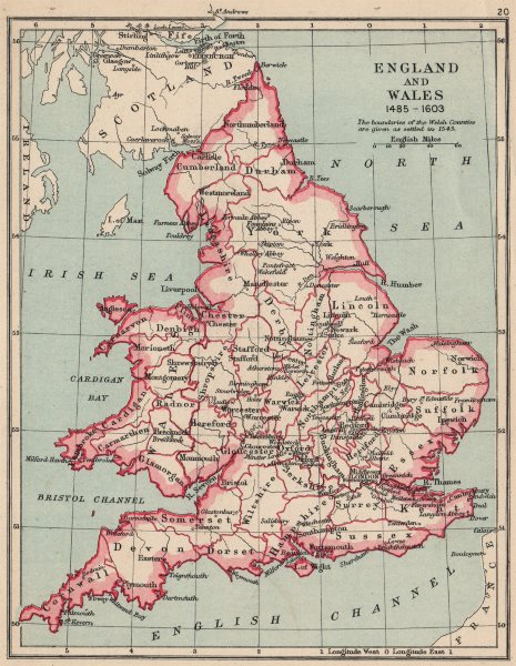 Associate Product ENGLAND AND WALES 1485-1603. showing counties & towns 1907 old antique map