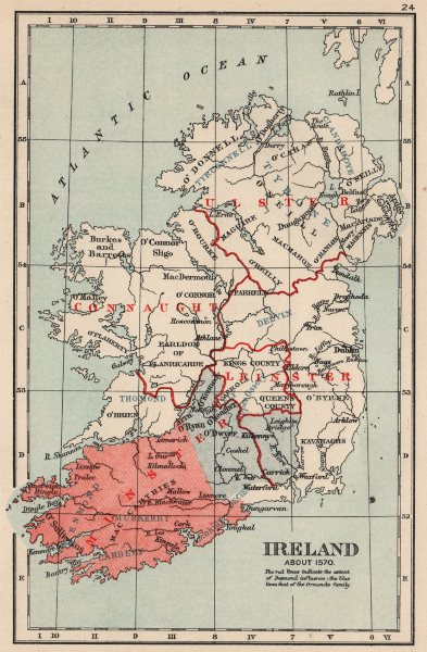 Associate Product IRELAND IN 1570. Showing Kingdoms/influence of Desmond & Ormonde family 1907 map
