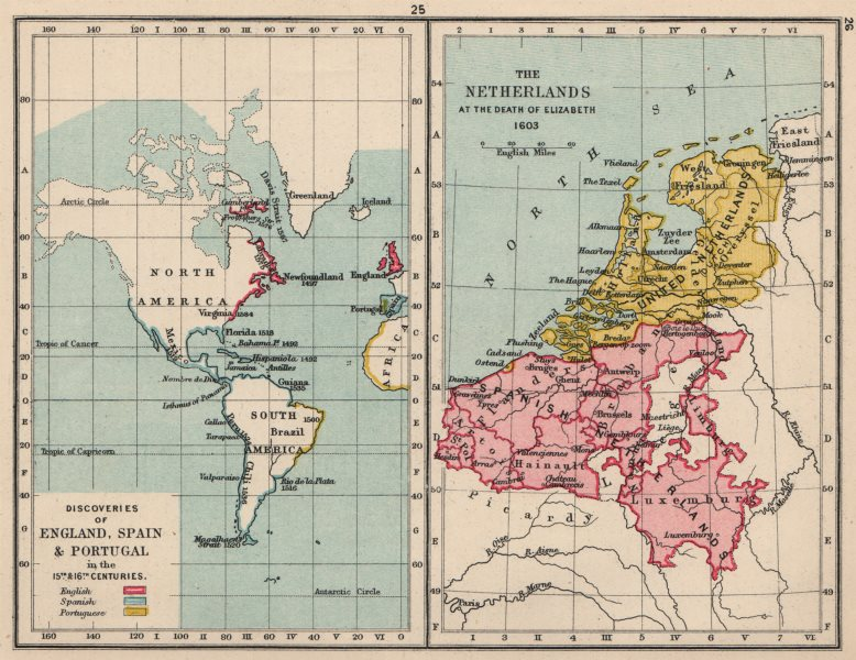 Associate Product EUROPEAN EXPLORATION 15-16C.England Spain Portugal.Netherlands in 1603 1907 map