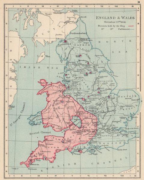 Associate Product ENGLISH CIVIL WAR NOV 1644.King(red)Parliament(blue).Battles/dates 1907 map