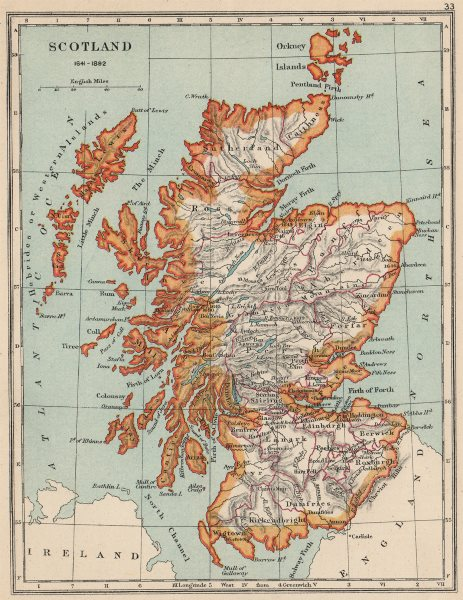 Details about SCOTLAND 1641-1892  Showing towns counties  Battles with  dates 1907 old map