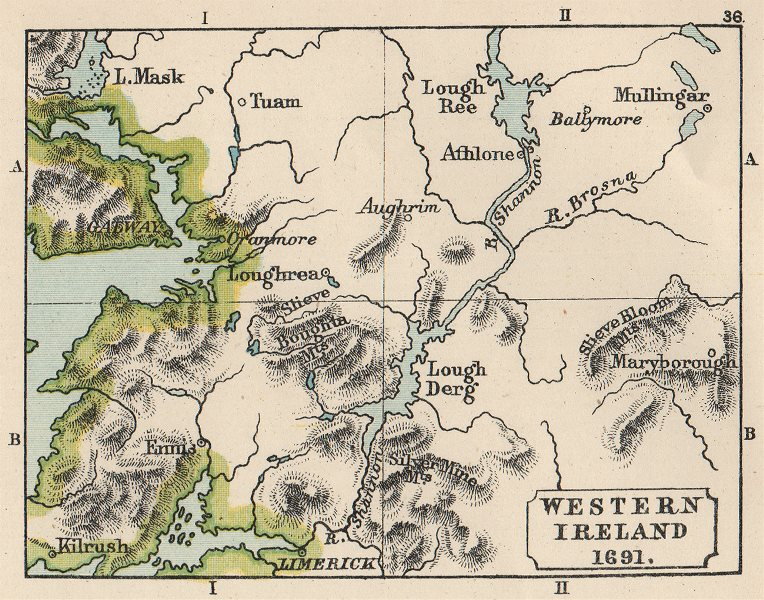 Associate Product WILLIAMITE WAR 1691. Western Ireland. Aughrim. SMALL. 1907 old antique map