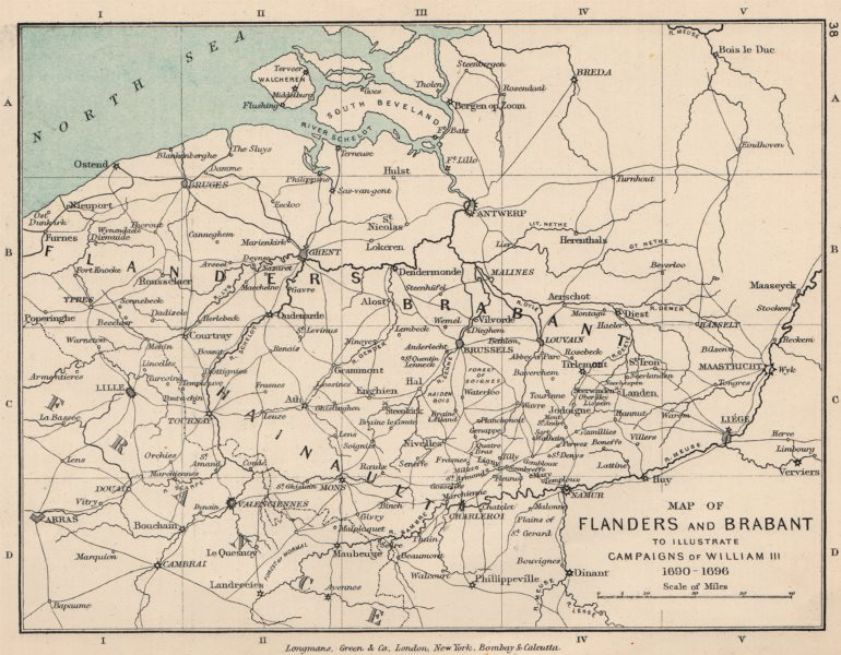 Associate Product BELGIUM. Flanders & Brabant. Campaigns of William III 1690-1696 1907 old map
