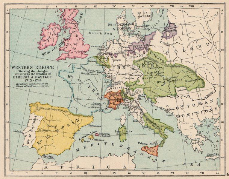 Associate Product EUROPE 1713-14. Treaties of Utrecht & Rastadt. British Minorca 1907 old map