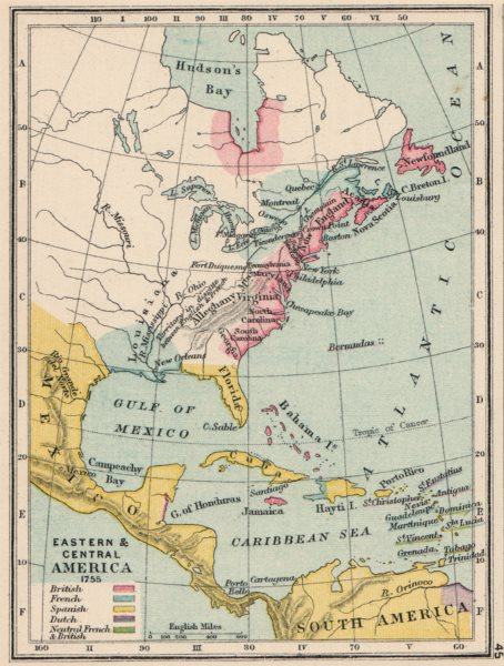 Associate Product NORTH AMERICA & CARIBBEAN IN 1755. French British Spanish Dutch. SMALL 1907 map