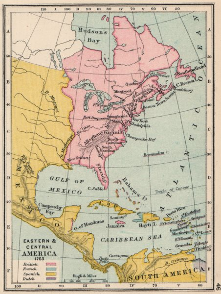 Associate Product NORTH AMERICA & CARIBBEAN IN 1763. French British Spanish Dutch. SMALL 1907 map