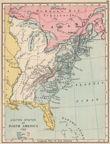 Details about USA IN 1783. North America. Spanish Florida & Louisiana 1907  old antique map