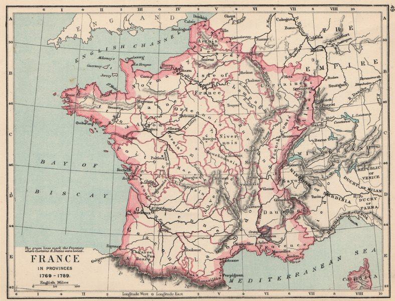 Associate Product FRANCE. France in provinces 1769-1789 1907 old antique vintage map plan chart