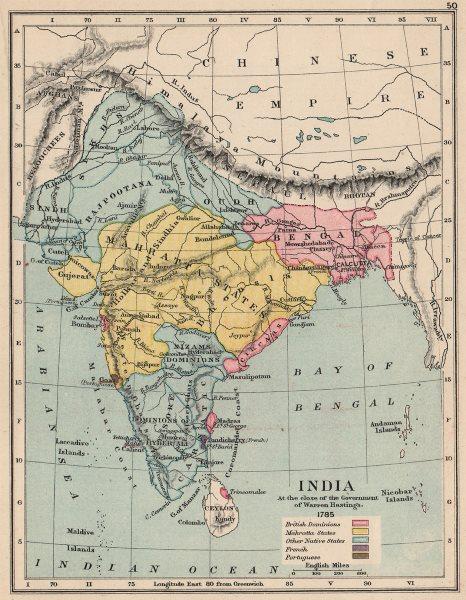 INDIA IN 1785. British (Pink) . Mahratta states. Warren Hastings 1907 old map