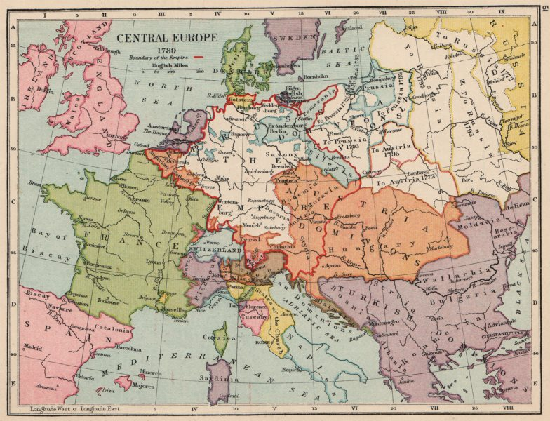 Associate Product EUROPE IN 1789. Holy Roman Empire. Division of Poland 1907 old antique map