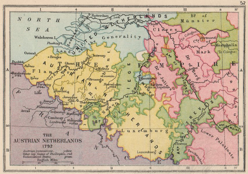 Associate Product AUSTRIAN NETHERLANDS 1792 Battles & dates.Ecclestiastical states.SMALL 1907 map
