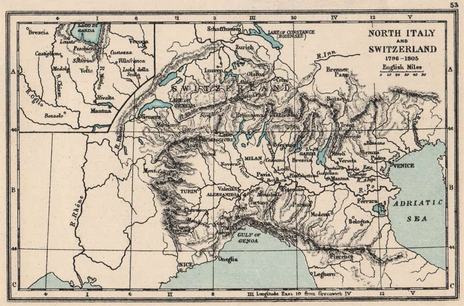 FRENCH REVOLUTIONARY WARS. North Italy and Switzerland 1796-1805. SMALL 1907 map