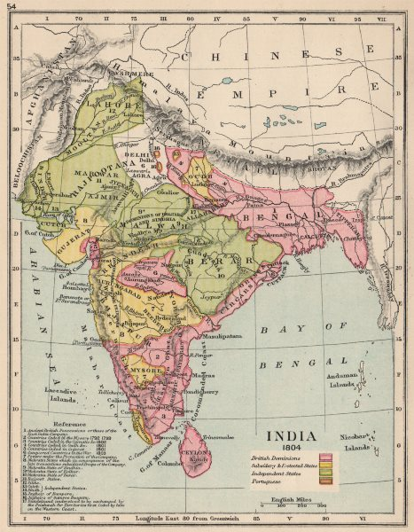 Associate Product INDIA 1804. British (red) showing dates of cessation. Protected states 1907 map