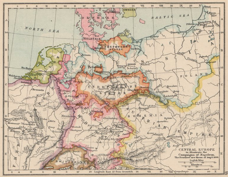 CENTRAL EUROPE.illustrating Napoleon's campaigns.1806 frontiers.Battles 1907 map