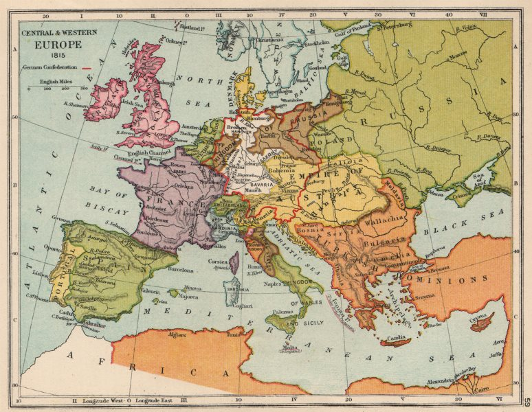 Associate Product EUROPE IN 1815. German confederation. United Netherlands 1907 old antique map