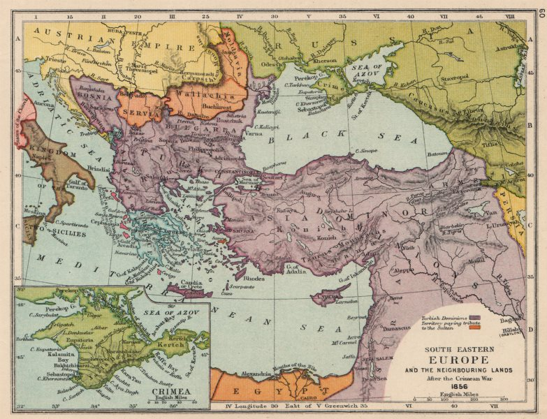 Associate Product SOUTH EAST EUROPE 1856. Crimean War. Ottoman Empire & tribute states 1907 map