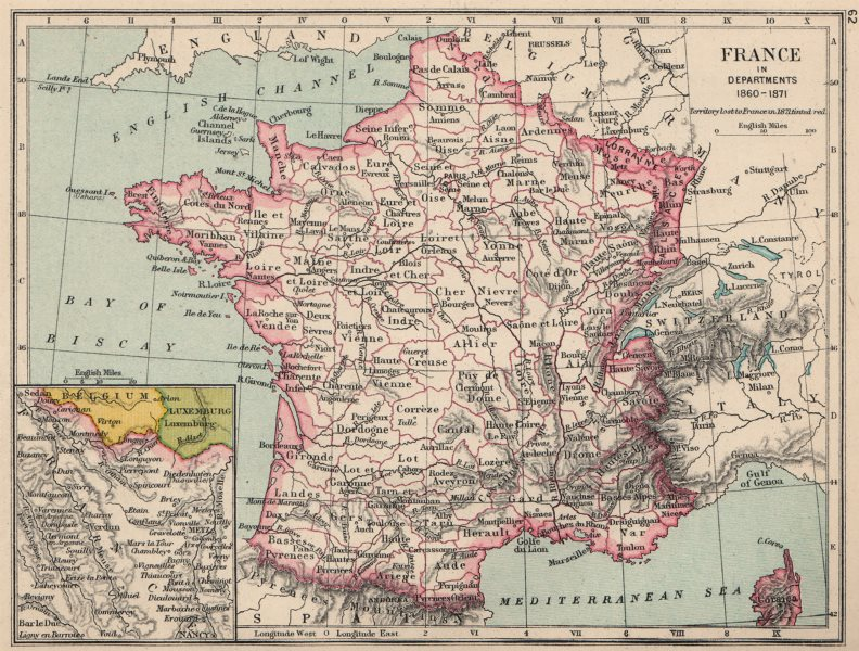 Associate Product FRANCE. in Departments 1860-1871 1907 old antique vintage map plan chart