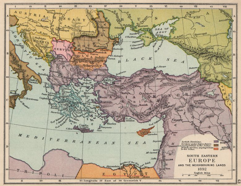 """Associate Product SE EUROPE 1892. Ottoman Empire. British Cyprus """"tribute Sultan"""" 1907 old map"""