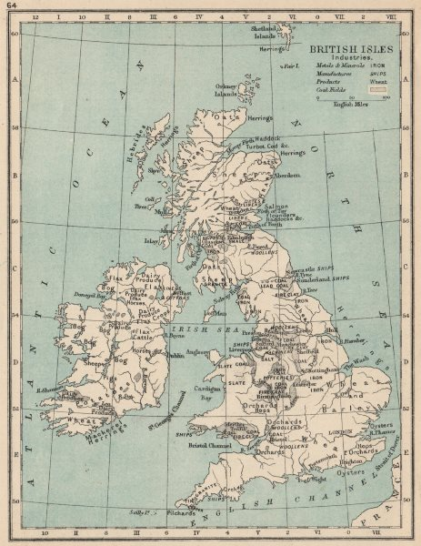 Associate Product BRITISH ISLES INDUSTRIES. coal fields products metals manufactures 1907 map
