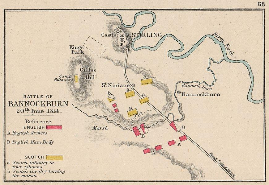 Associate Product BATTLE OF BANNOCKBURN. 20th June 1314. Scotch v English. SMALL. 1907 old map
