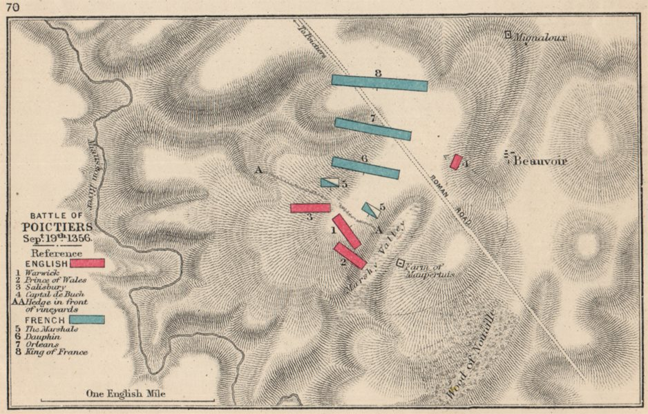 Associate Product BATTLE OF POITIERS Sept 19 1356 English v French 100 Years War. SMALL 1907 map
