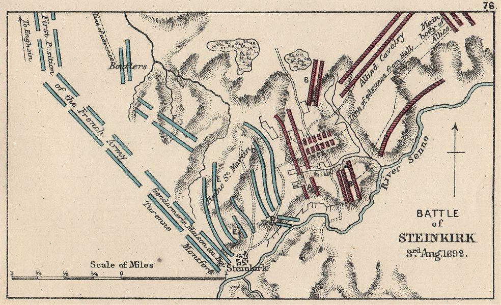 Associate Product 9 YRS WAR.Battle of Steinkirk (Steenkerque) 1692.France v Allies. SMALL 1907 map