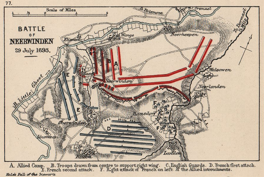 Associate Product NINE YEARS WAR. Battle of Neerwinden July 1693. French v Allies. SMALL 1907 map