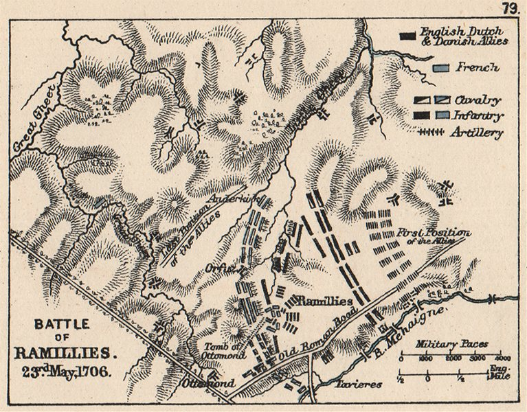 Associate Product WAR OF SPANISH SUCCESSION. Battle of Ramillies 23rd May 1706. SMALL 1907 map