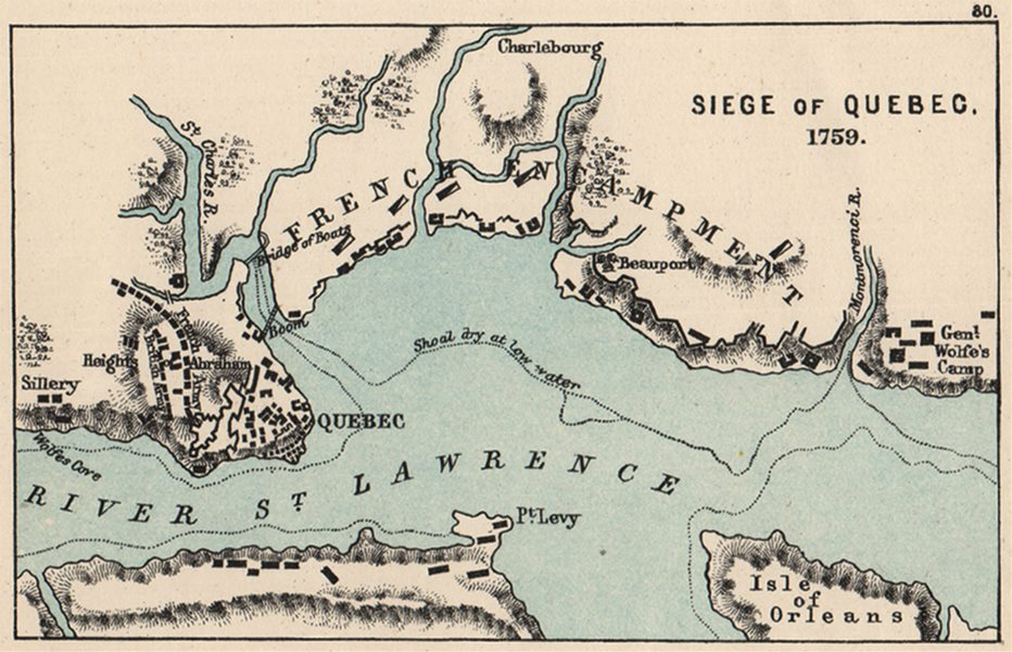 SEVEN YEARS WAR. Siege of Quebec 1759. Plains of Abraham. SMALL 1907 old map