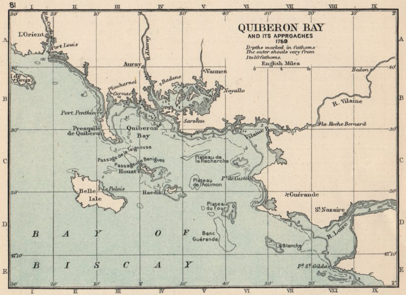 Associate Product SEVEN YEARS WAR. Quiberon bay and its approaches 1759. SMALL 1907 old map