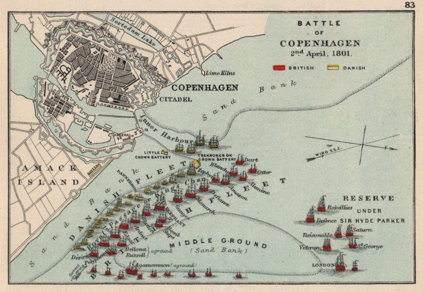 Associate Product BATTLE OF COPENHAGEN. 2 April 1801. War of the Second Coalition. SMALL 1907 map