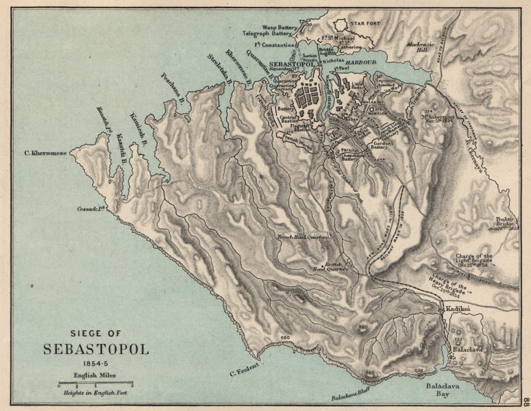 Associate Product CRIMEAN WAR. Siege of Sevastopol 1854-5. English & French attacks 1907 old map