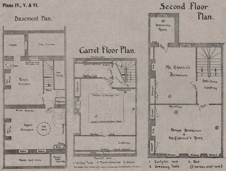 Associate Product CHELSEA.Carlyle's House 24 Cheyne Row.Basement;Garret floor;2nd.SMALL 1900 map
