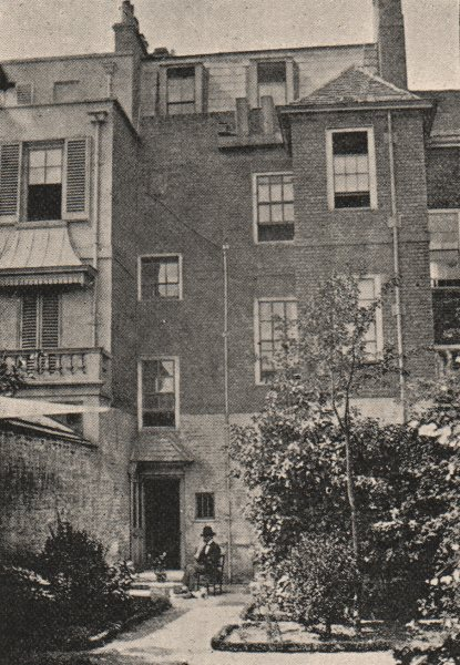 Associate Product CHELSEA. Carlyle's House, 24 Cheyne Row. Back Court (1857) . Nero. SMALL 1900