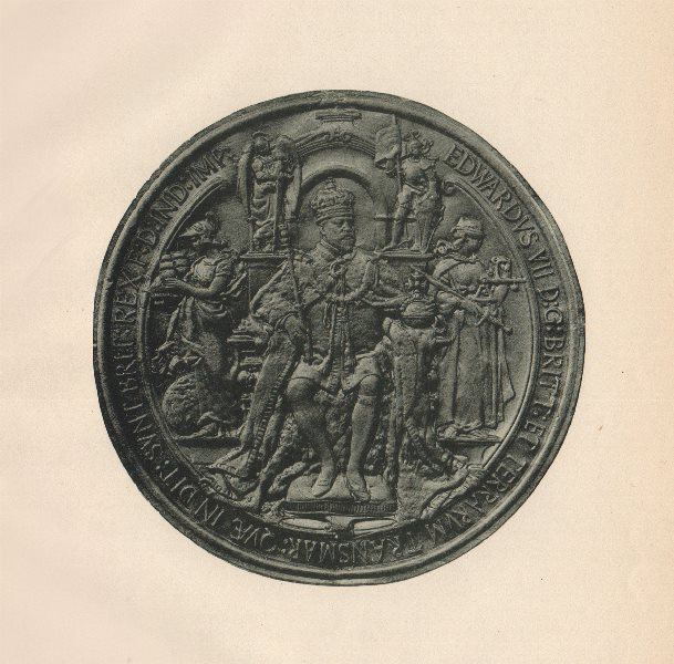 Associate Product ENGLISH SEALS. Great Seal of King Edward VII (Obverse)  1907 old antique print