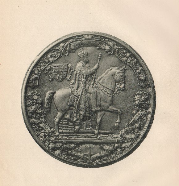 Associate Product ENGLISH SEALS. Great Seal of King Edward VII (Reverse)  1907 old antique print
