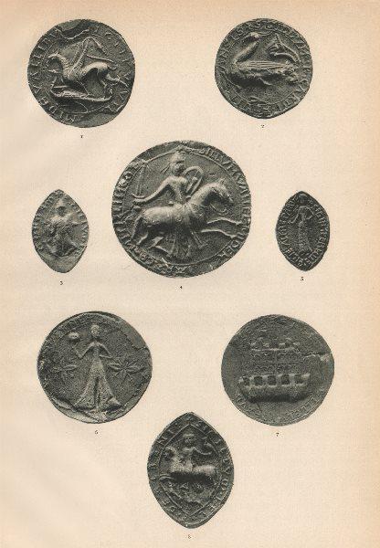 Associate Product 12-13C ENGLISH SEALS. Vaux Ansis Gorram Romare Little Butler Aubeney 1907