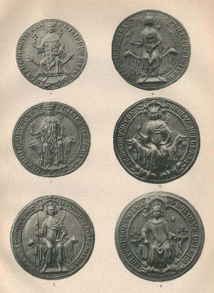 Associate Product ROYAL FRENCH SEALS 1328-1422. Philip III IV VI Charles V VI Louis X 1907 print