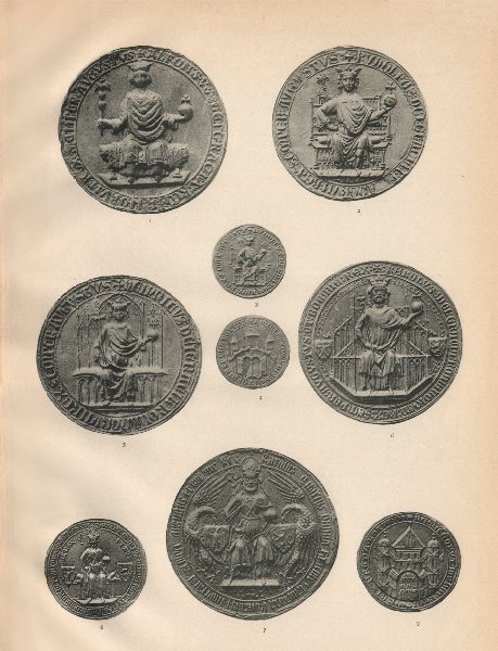13-14C HOLY ROMAN EMPEROR SEALS. Alfonso Rudolf Heinrich VII Carolus IV 1907