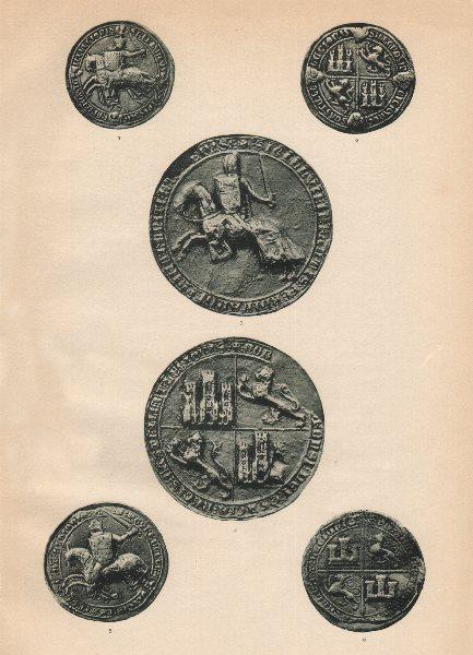 Associate Product CASTILE & LEON SEALS 1310-36. Kings Alfonso XI Pedro. Infante Montana IV 1907