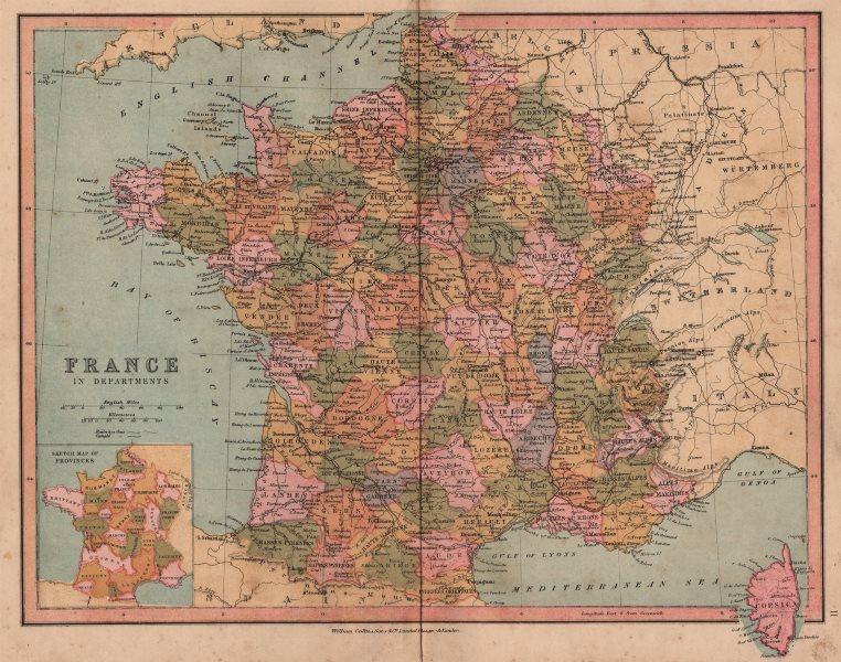 Associate Product FRANCE. No Alsace Lorraine. Alpes-Maritimes excludes Menton. COLLINS 1880 map