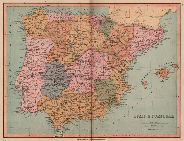 Associate Product IBERIA. Spain & Portugal. Gibraltar not shown as British. COLLINS 1880 old map