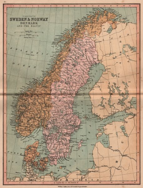 Associate Product SCANDINAVIA.Denmark shown without North Schleswig.Norway Sweden.COLLINS 1880 map