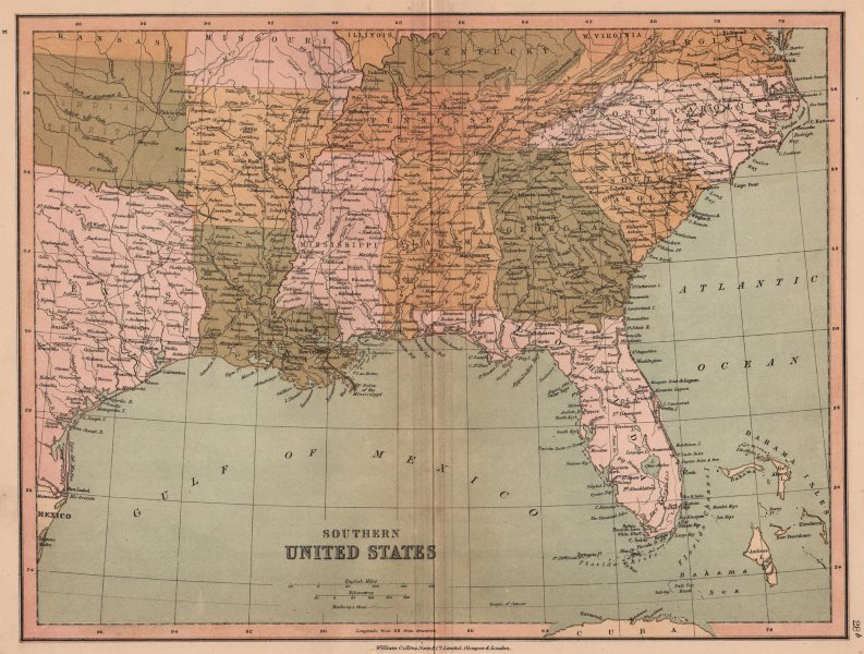 """Associate Product SOUTHERN UNITED STATES. Oklahoma shown as """"Indian Territory"""". COLLINS 1880 map"""