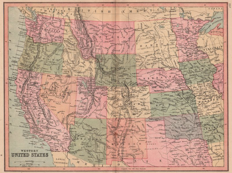 """Associate Product USA WEST. Oklahoma shown as """"Indian Territory"""", Dakotas as one state 1880 map"""